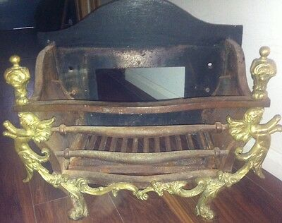 Cast Iron & Brass Angels Large Rustic Dog Grate Fireplace Basket
