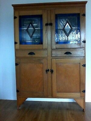 Antique Stained Glass Kitchen Dresser