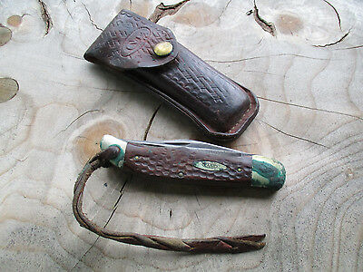 Vintage Case Xx U.s.a. 6265 Folding Pocket Knife With Leather Sheath As Is