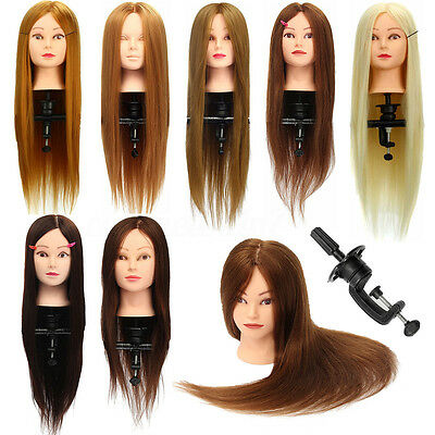 """26"""" 100% Real Hair Practice Training Head Mannequin Hairdressing Doll + Clamp UK"""