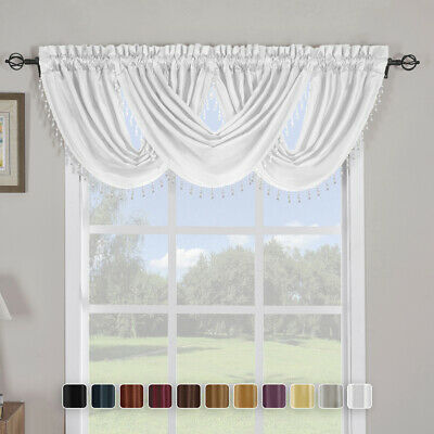 "Single Soho Waterfall Window Valance,Elegant Decorative Trim Valances -57"" X 37"""