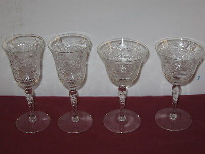 Seneca Glass Co.  #190-21 Cut Wine And Liquor Cocktail Glasses  --  2 Of Each