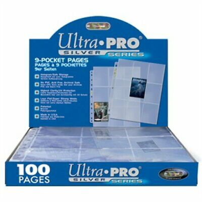 ULTRA PRO - 9 POCKET TRADING CARD PAGES - SILVER SERIES - 10 Pages