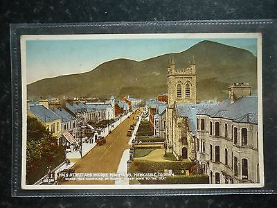 Postcard Printed Colour Tint Main Street and Mourne Mountains Newcastle Co Down