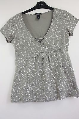 Women's Maternity & Nursing, Size M, H&M Mama, Brown T-shirt, White Hearts