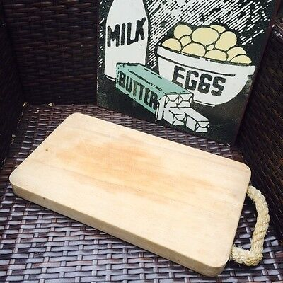 Vintage Wooden Bread Board with Rope Handle
