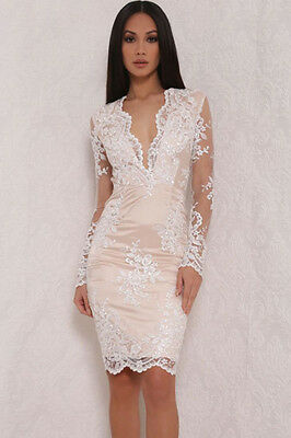 Robe De Soiree Blanche Tule-  Taille S/m --Neuf - White  Evening Bodycon Dress