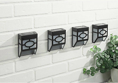 4x Black chinese style Solar Powered LED Outdoor mounted Wall/Garden/Patio Light