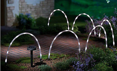 6 X Led Tube Solar Powered Garden Stick Lights Decking Border Path Edging Bright