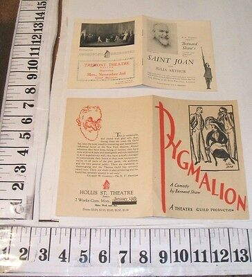 George Bernard Shaw 2 Boston Theater Heralds Saint Joan 1924 Pygmalion 1930