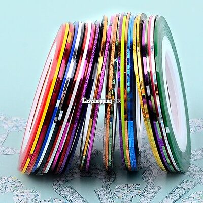 30Pcs Mixed Colors Rolls Striping Tape Line DIY Nail Art Tips Decoration ES9P02