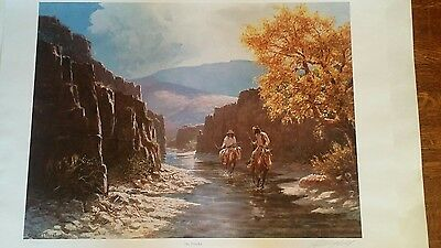 Olaf Wieghorst Rare signed limited edition print.  No Tracks  vintage old