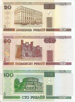 BELARUS p24-26a - 20_50_100 ruble - 2000 Set of 3 Uncirculated