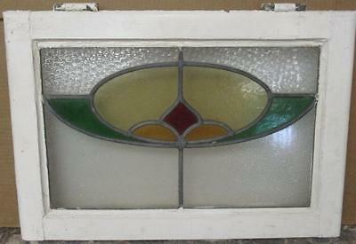 """OLD ENGLISH LEADED STAINED GLASS WINDOW Geometric Floral 20.5"""" x 13.75"""""""