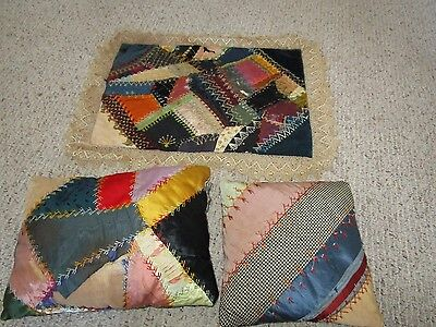 1800's CRAZY QUILT PILLOWS~FINE EMBROIDERY~LOTS OF SATINS AND VELVETS