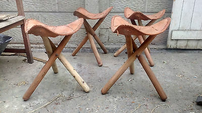 LARP Medieval, Reenactment, Folding Stools, Chairs, Set of 4, Leather
