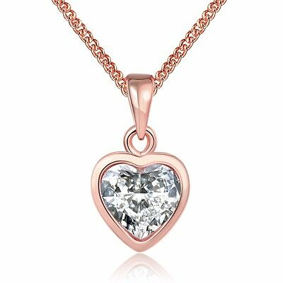 Fashion 18k Rose Gold Plated Women Heart Pendant Necklace Chain Jewelry NEW