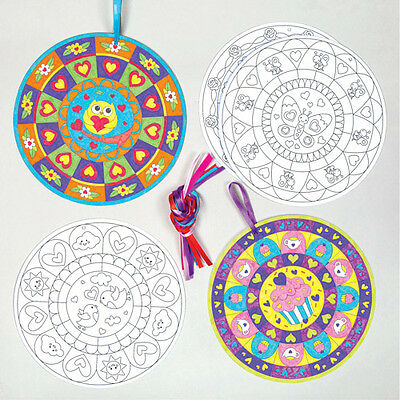 10 Heart Mandala Colour-in Decoration Kits for Children Valentines Day Craft Set
