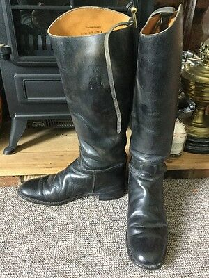 Marlborough Tall Black Leather Horse Riding Boots Size 6 B