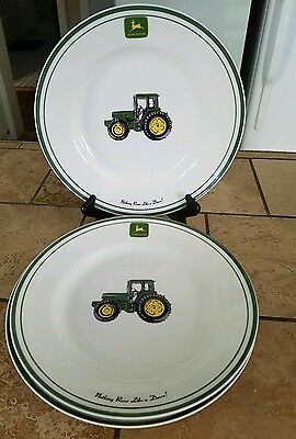(3) John Deere 11 inch Dinner Plates Gibson Nothing Runs Like a Deere Tractor