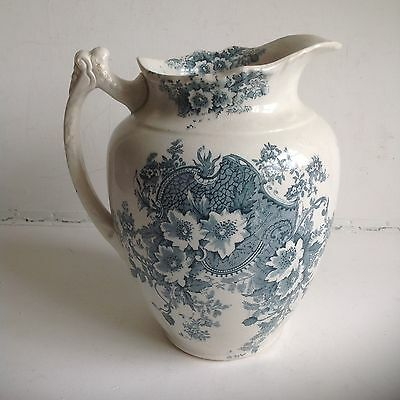 Antique Blue And White Large Victorian Jug