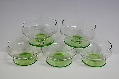 5 x Art Deco Green Uranium & Clear Glass Fruit Dishes