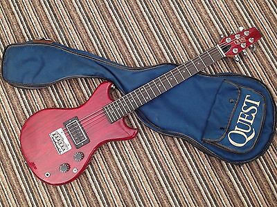 Rare 70s/80s MIJ Quest by Vantage Mini Travel Guitar, Trans Cherry Red & Gigbag