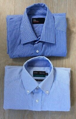 🌈2 Men's shirts from M&S-Blue Stripe-Size 14.5