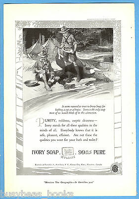 1919 IVORY SOAP advertisement, Boy Scouts at camp, Walt Louderback art