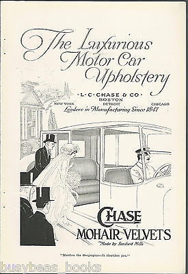 1917 CHASE Mohair advertisement, automobile upholstery material Sanford Mills
