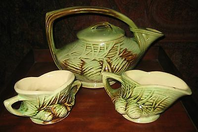 VINTAGE MCCOY POTTERY USA TEA SET TEAPOT CREAM AND SUGAR PINECONES C 1940's