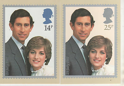 1981 Royal Wedding - Set Of 2 Phq Cards - Mint