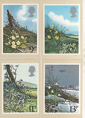 1979 British Flowers - Set Of 4 Phq Cards - Mint