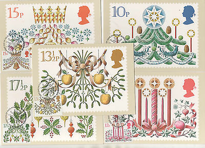 1980 Christmas - Set Of 5 Phq Cards - Spec.pmks