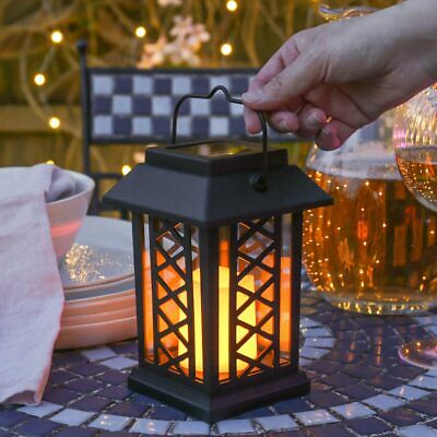 Solar Powered Outdoor Garden Patio Table Hanging Candle Lantern Led Light