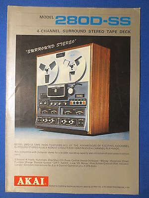 Akai 280D-Ss Reel To Reel Sales Brochure Original Factory Issue The Real Thing