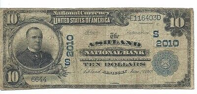 1902 ASHLAND, KY National Bank $10 National Note; Plain Back; CH# 2010