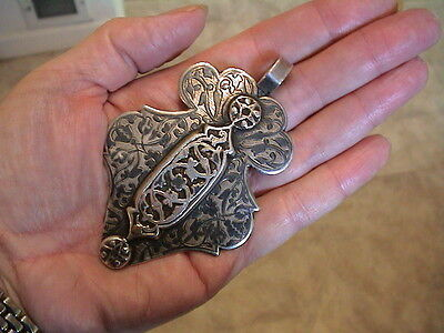 Vintage Large Imperial Russian Marked 84 Silver Niello Pendant