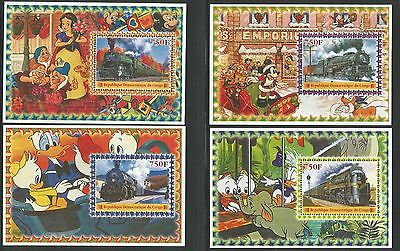 Congo DR 2005 sett of 4 Disney MS with railway stamps unmounted mint