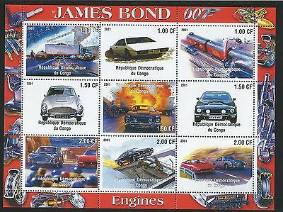 Congo DR 2001 James Bond Engines / Railways sheetlet