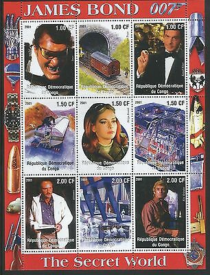 Congo DR 2001 James Bond  Secret World / Railways sheetlet unmounted mint