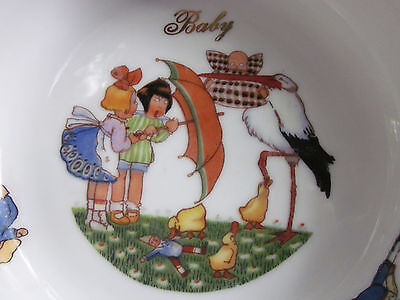Antique Czech Deco Child's Baby Bowl Dish Googly Eye Girls Stork VINTAGE Minty