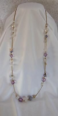 """Pretty Necklace Shades Of Lilac & White Beads On Gold Tone Chain 34 """" Great Gift"""
