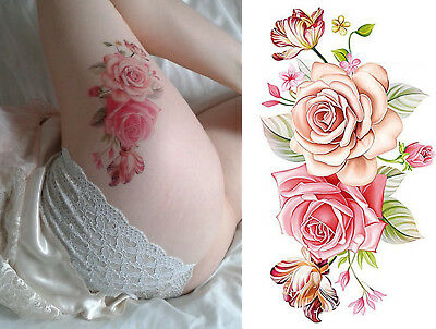 Temporary Tattoo Pink Roses Large Flower Stickers Body Art Fake Waterproof UK