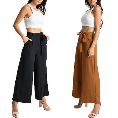 Women Palazzo Loose Wide Leg Casual Long Flared Pants OL Work Culottes Trousers
