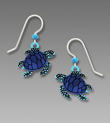 Sienna Sky Blue SEA TURTLE Earrings STERLING SILVER Made in USA 1911 + Box