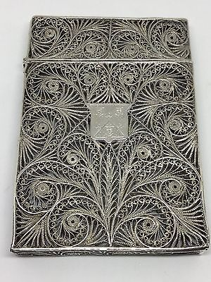 Solid Silver Filigree Card Case Circa 1820