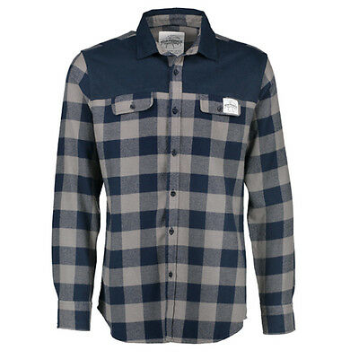 Aqua Products NEW Fishing Men's Clothing Navy Check Flannel Button Up Shirt