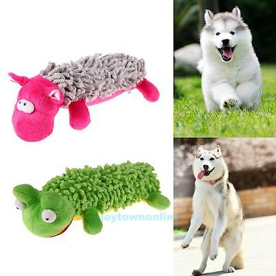 Puppy Pet Cat Dog Chew Squeaker Squeaky Plush Sound Frog Chew Training Play Toys