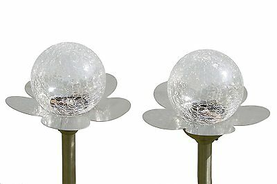 2 Large Garden Crackle Orb Colour Changing Solar Light (Stainless Steel & Glass)